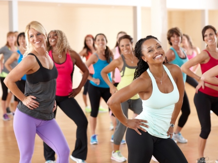 The image above depicts an amazing dance class for women.